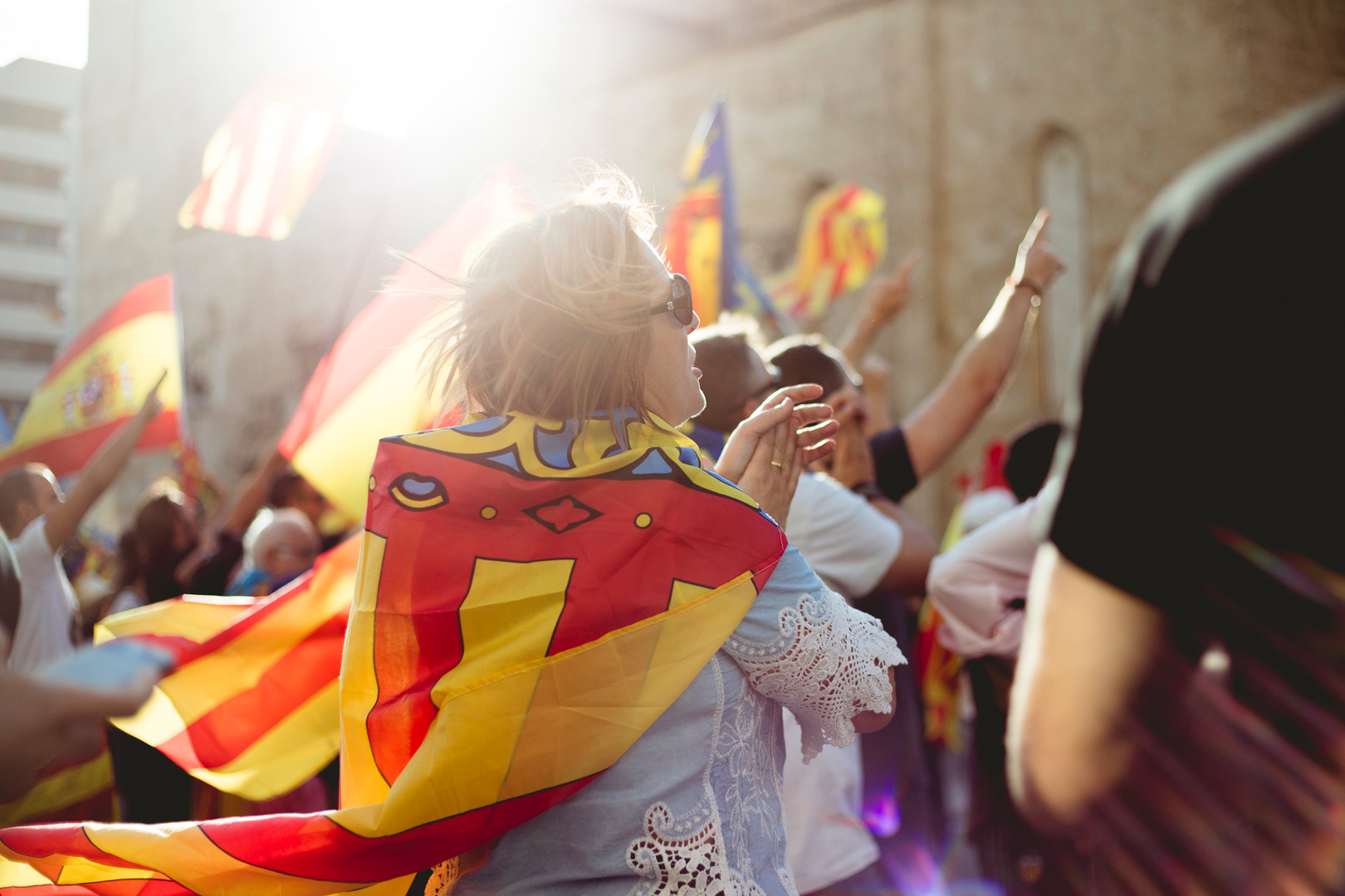 People in Valencia are demonstraiting against the the Indipendence of Catalunya during their Comunity Day Holiday. Valencia, October 9th, 2017