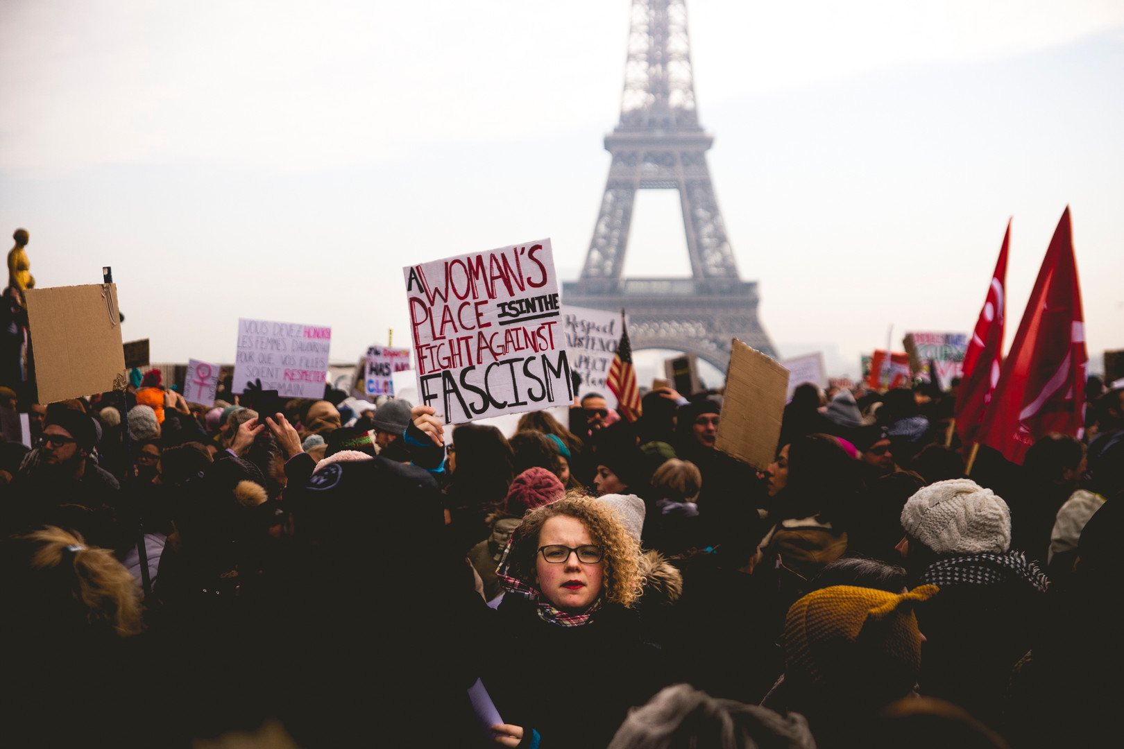 Women March against Donald Trump. Trocadero, Paris, January 21th, 2017