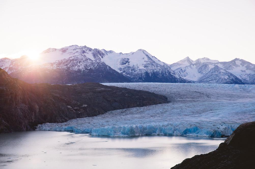 Sunset on Grey Glaciar, Torres del Paine National Park, Chile. April 2016