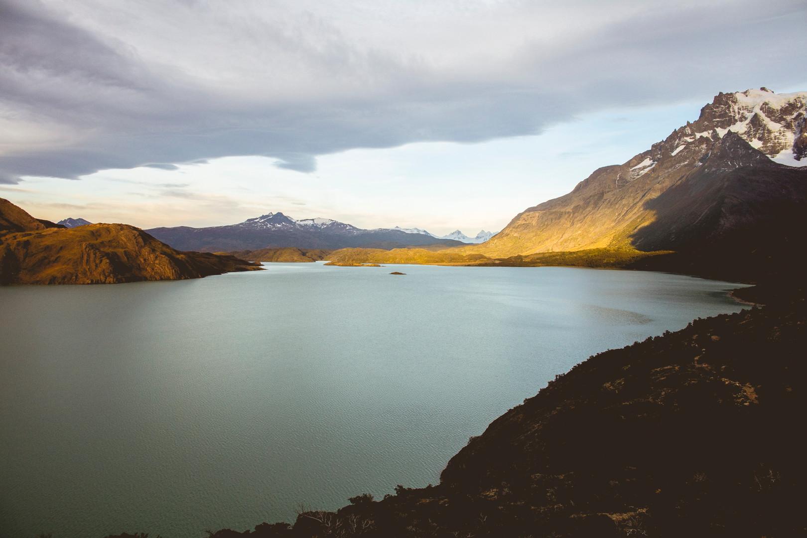 Sunrise in Lake Nordenskjold, Torres del Paine National Park, Chile, April 2016