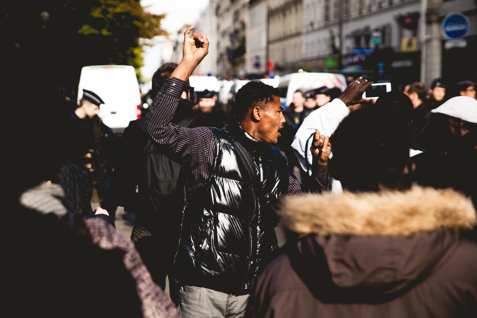 Refugees demostrating against the police. Paris, October 2016