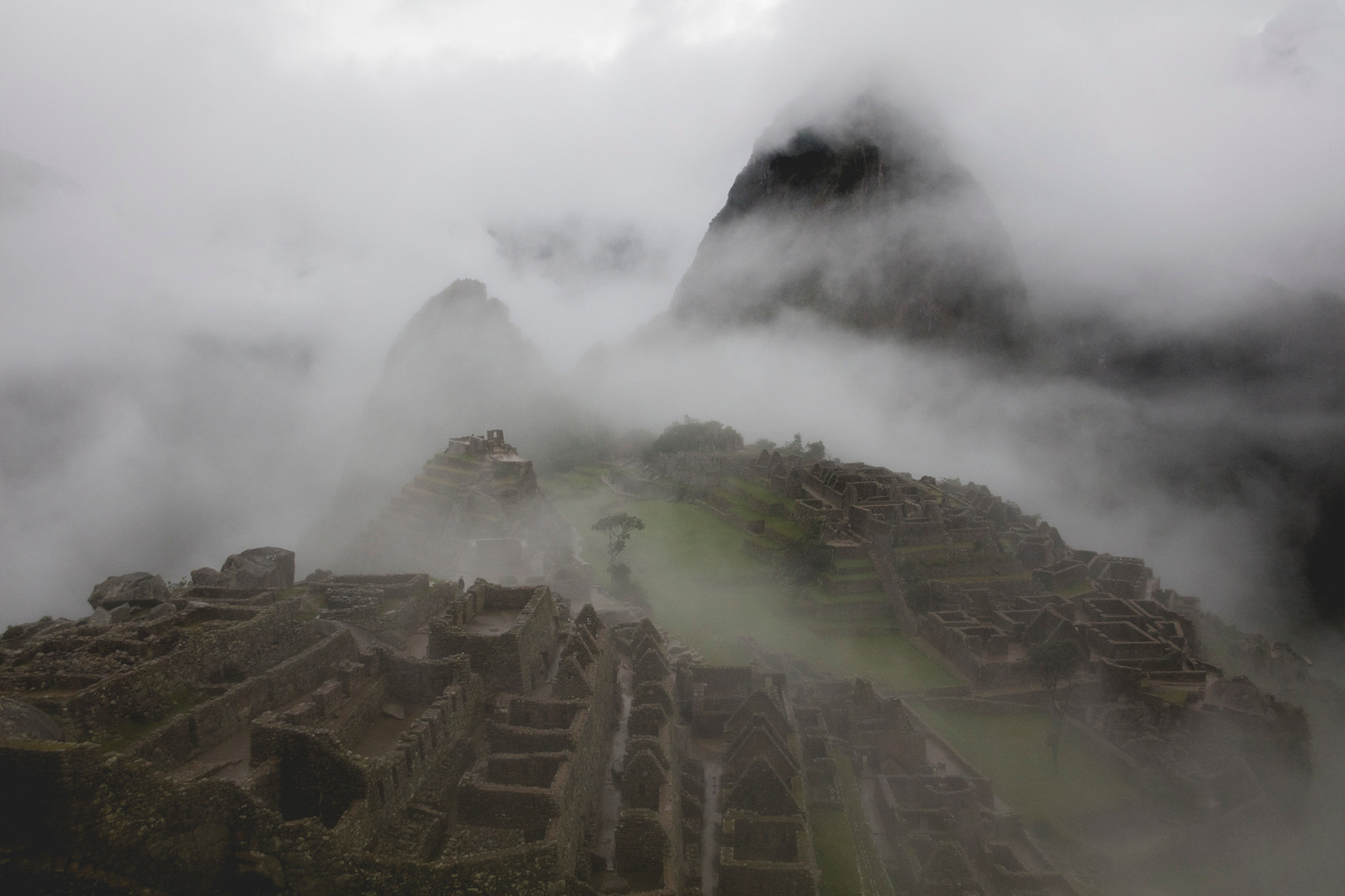 Early morning in Machu Picchu covered by Clouds. Perù, March 2016