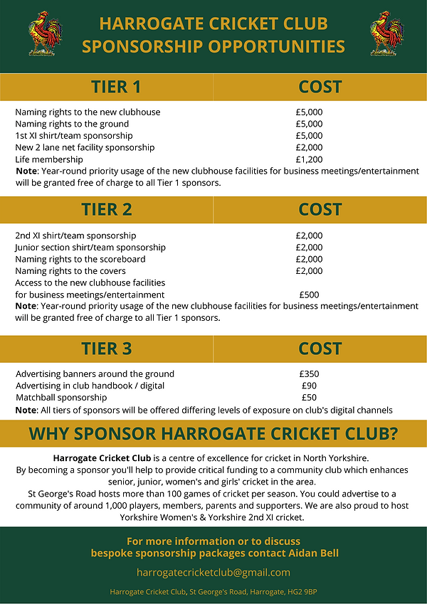 HARROGATE CC SPONSORSHIP OPPORTUNITIES (