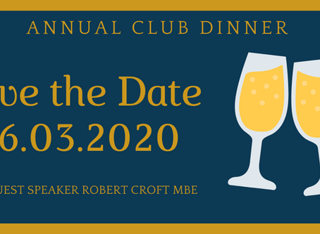Date for your diary: Annual Club Dinner