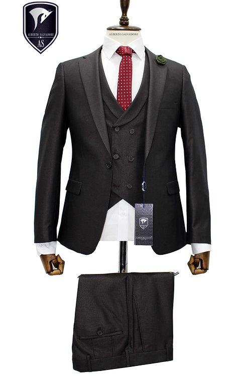 Kahverengi Yelekli Takım Elbise