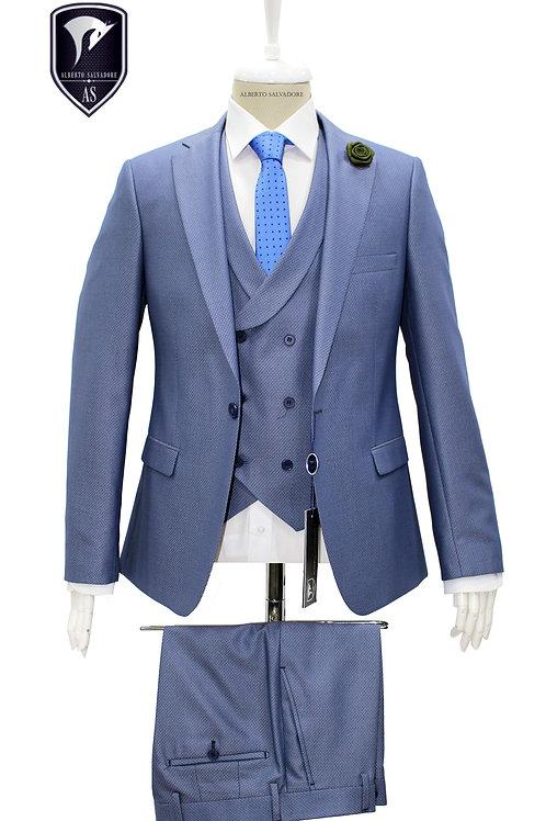Açık Mavi Yelekli Takım Elbise