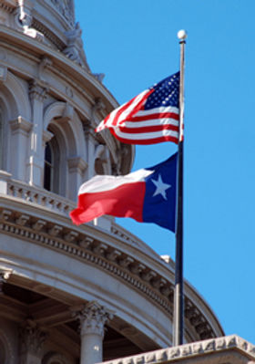U.S. Texas capitol flags