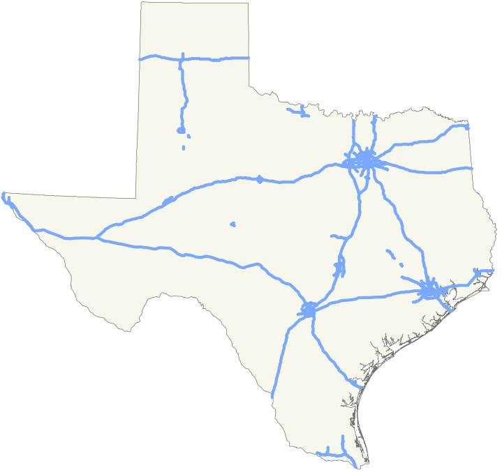 Interstate system in Texas