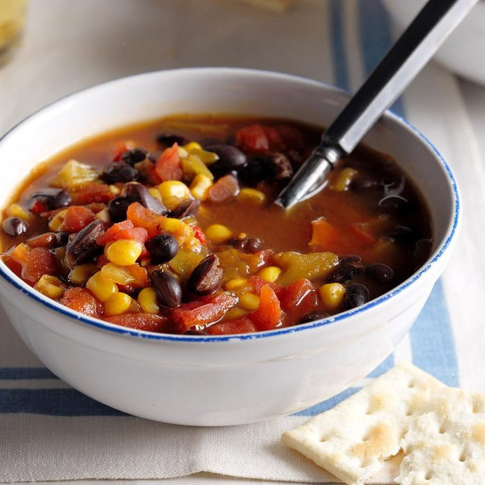 Hearty Mexican Soup with Tortilla Chips