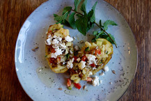 Baked Potatoes with Summer Vegetables, Mint and Feta