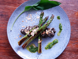 Grilled Green Asparagus with Beluga Lentil Puree and Wild Garlic-Almond-Oil