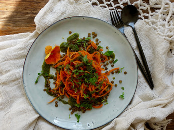 Carrot Noodles, Lentils and Wild Herb Pesto