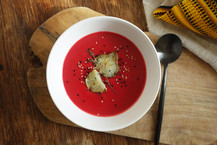Creamy Beet Soup with Oven Baked Jerusalem Artichokes