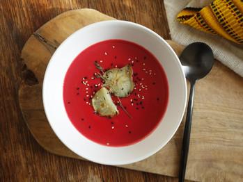 Creamy Beet Soup with Oven Baked Jerusalem Artichokes
