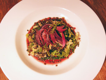 Warm Lentil Savoy Cabbage Salad and Braised Onion Red Currant Dressing