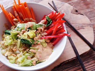 Millet Salad with Seasonal Vegetables and Satay Sauce