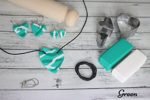 Polymer Clay Jewellery Kit Materials Green