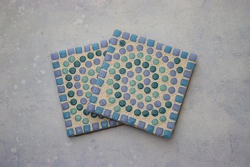 Blue Mosaic Coaster Craft Kit Gift For Him