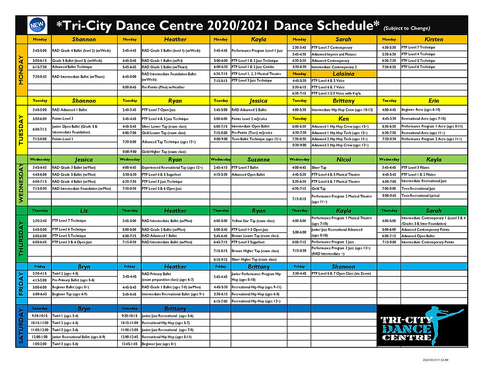 2020-2021 TCDC Class SCHEDULE -Updated A