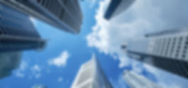 high building financial business area with cloud blue sky