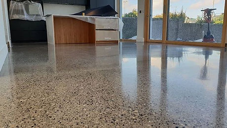 A fully exposed polished concrete floor
