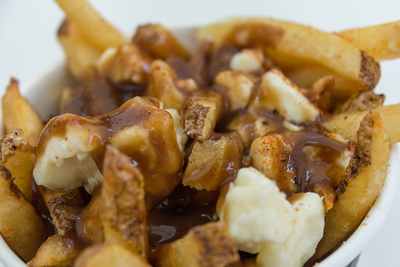 Closeup to a serving of Poutine in Canad