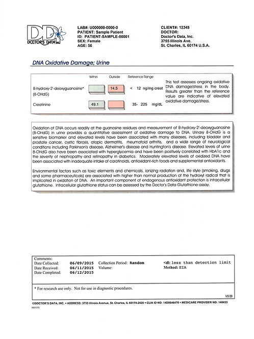 DNA Oxidative Damage Test(DOD)(Dr. Amy Yasko)