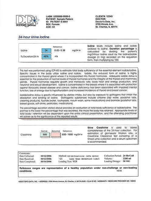 Urine Iodine Test(UI)(Dr. Amy Yasko)