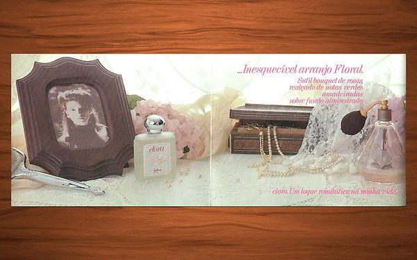 Folheto de lançamento do perfume Elora Jafra.
