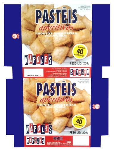 Massas Nápoles - Embalagem paraPstéis aperitivos prontos para fritar.