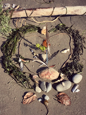 """Shrine on the beach at the Grief Ritual Retreat """"Drinking from the Well ~ The Sacred Work of Grief"""" in Coos Bay on the Oregon Coast, August 2018. Read the full story on the link below."""