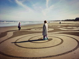 """Field of Dreams labyrinth on the beach at the Grief Ritual Retreat """"Drinking from the Well: The Sacred Work of Grief"""" in Coos Bay on the Oregon Coast, August 2018. Read the full story on the link below."""