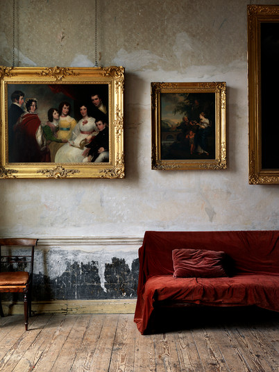 Room Detail,I reland with Paintings, Chair  & Velvet Bench