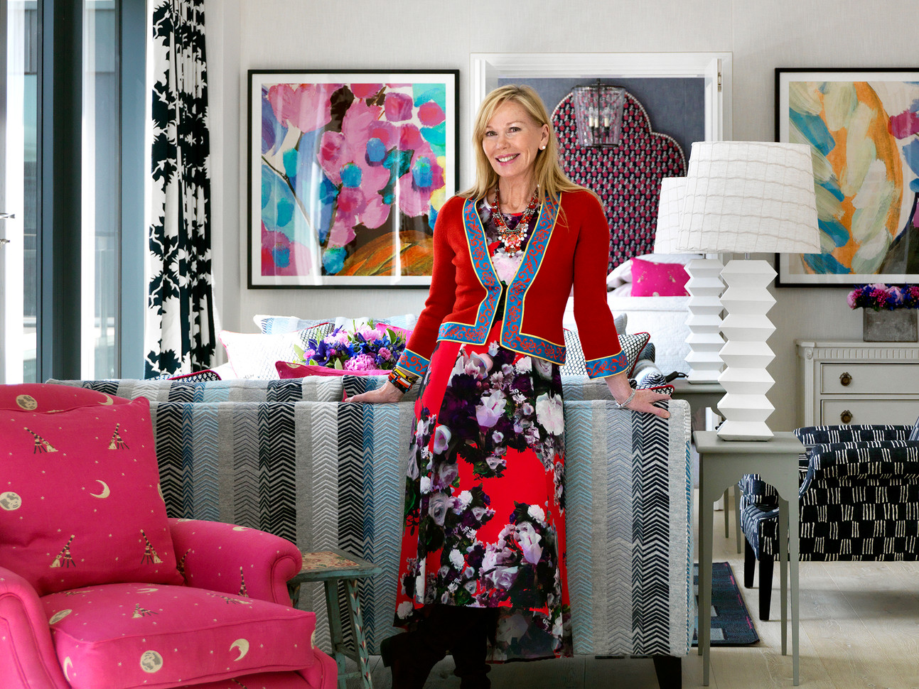 Kit Kemp, Co-Owner & Designer of Firmdale Hotels in the Ham Yard Terrace Suite