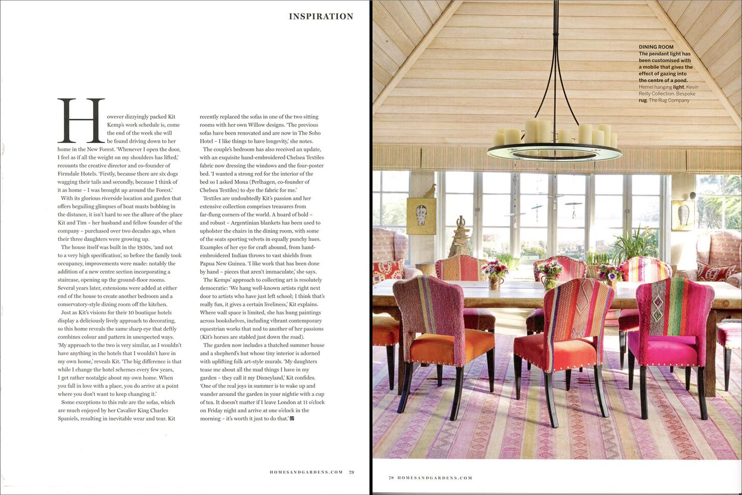 Kit Kemp, Guest Edit of Homes & Gardens, June 2020
