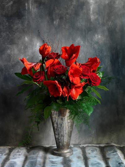 Red Rose with amaryllis