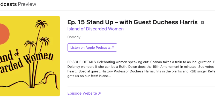 "Listen to Harris on ""The Island of Discarded Women"" podcast"