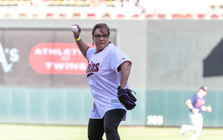 Harris Throws the First Pitch for Twins Game to Celebrate 50th Anniversary of Apollo 11 Moon Landing