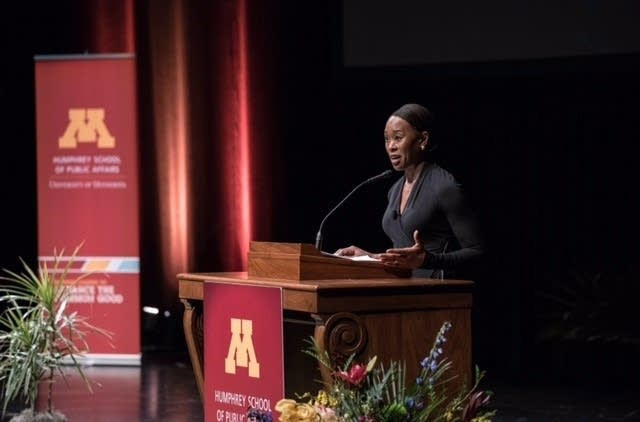 """Margot Lee Shetterly, the author of """"Hidden Figures,"""" speaks at the Humphrey School of Public Affairs on February 21, 2017. Courtesy Humphrey School of Public Affairs"""