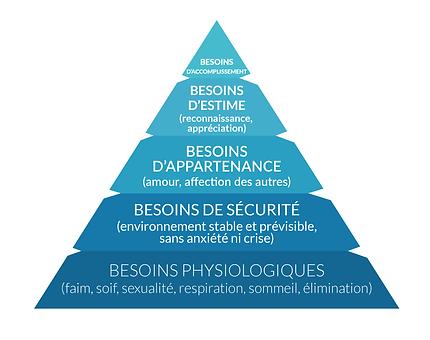 Spécial COVID  la « théorie des besoins » inventée par Abraham Maslow. Avec sa pyramide des besoins, Maslow cherche à hiérarchiser les besoins humains. Cette pyramide postule qu'il faut satisfaire les besoins en commençant par le bas de l'édifice et monter graduellement les étages. Valérie ALEGRE Hypnose Psycho-énergétique 78