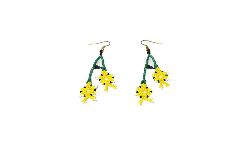 Aretes de flor doble