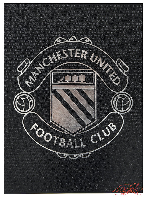 Manchester United Crest (1970's) Black & Silver