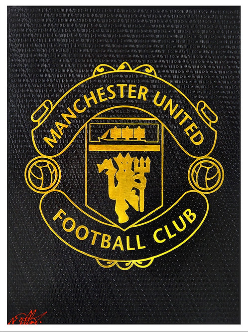 Manchester United Crest - Black and Gold Print