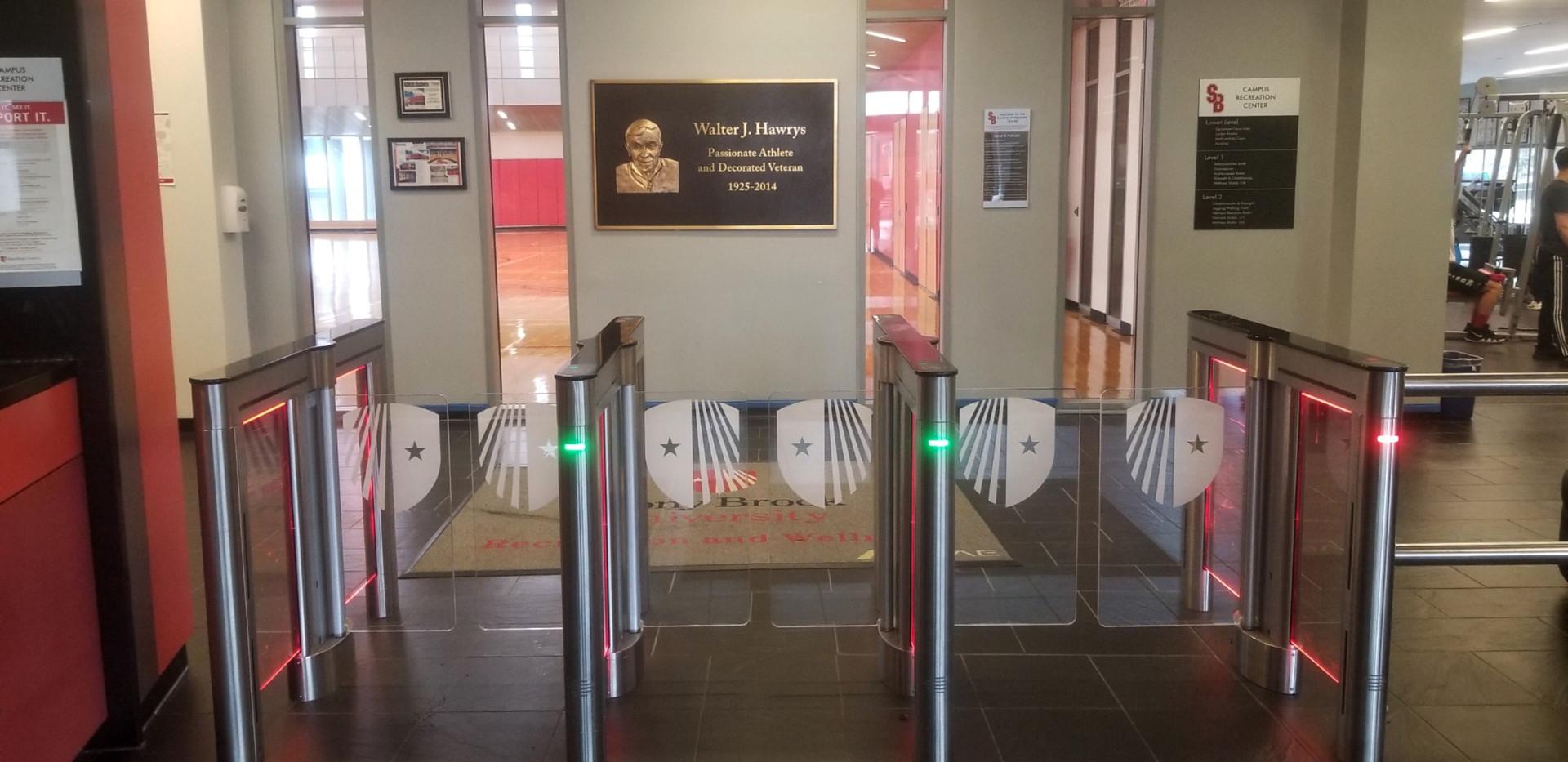 Custom Lighting and Barrier Etching Turnstile