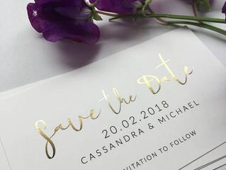 Gold Foil Mini Save the Date Invites