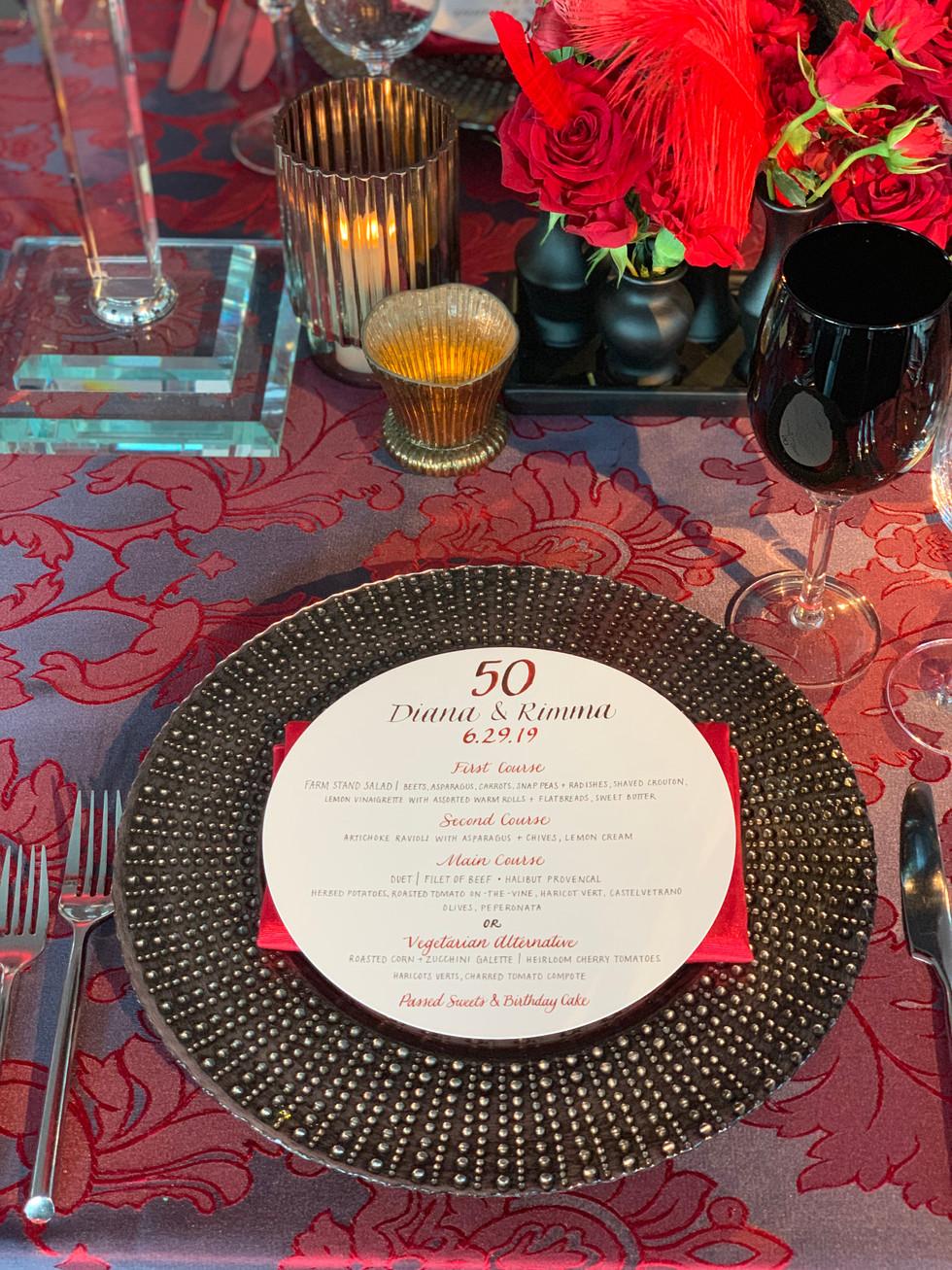 50th Birthday Bash Custom Menu