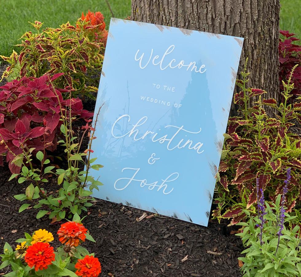 Christina and Josh Acrylic Welcome Sign