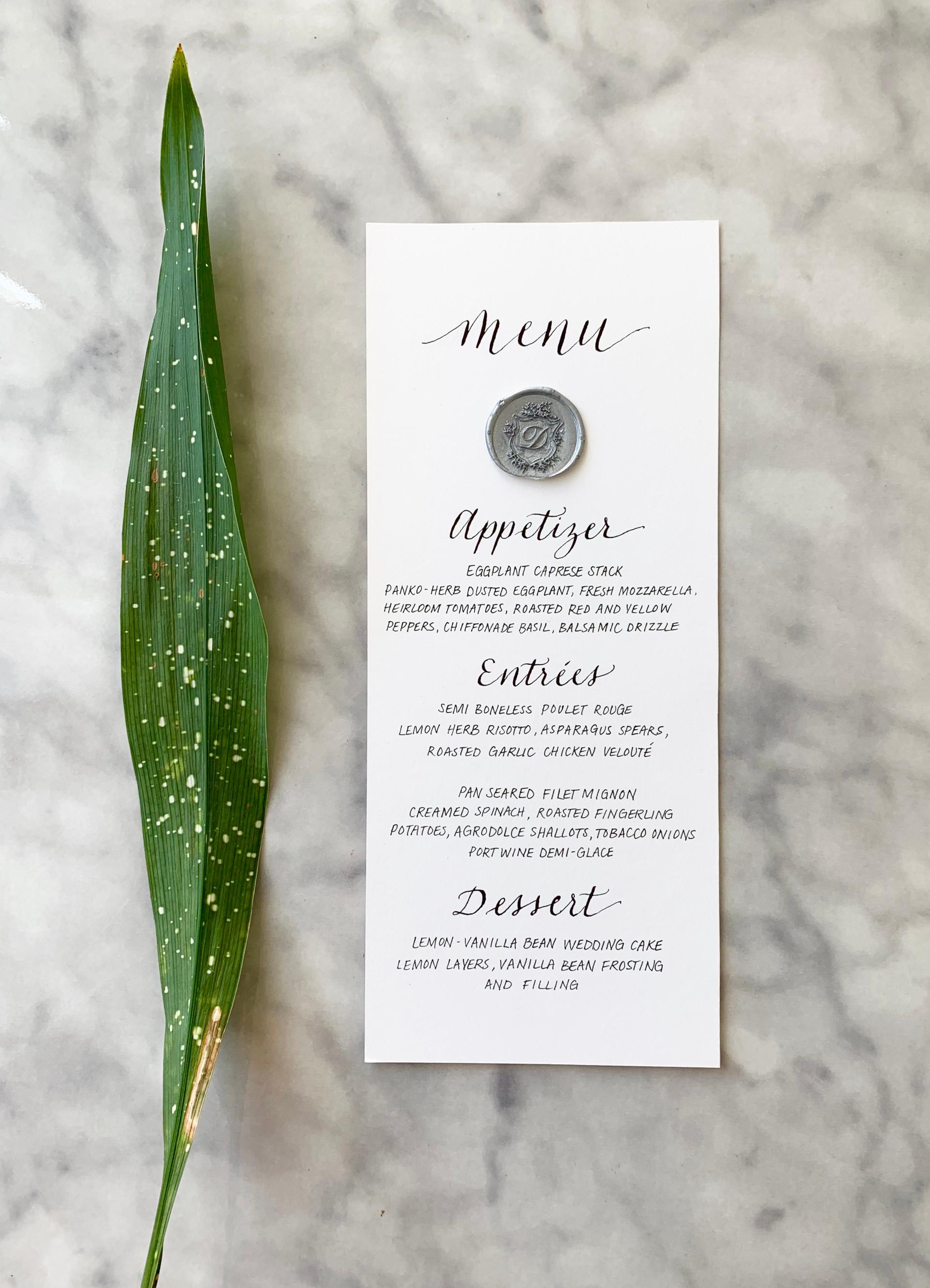 Wedding Menu with Wax Seal
