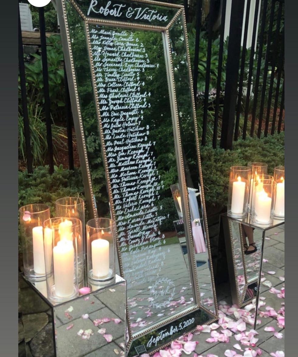Mirror Wedding Seating Chart