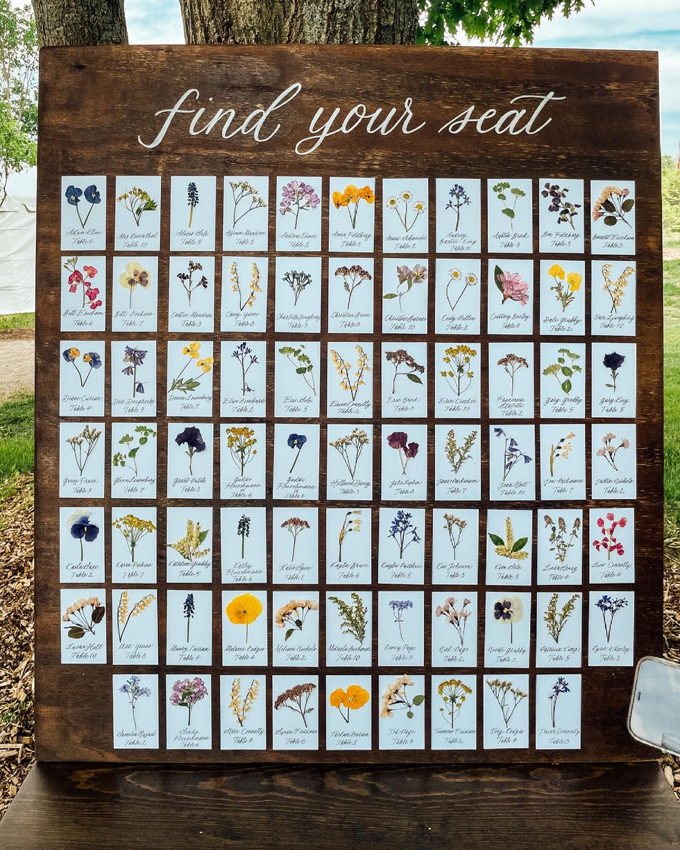 Floral Seating Chart on Wood